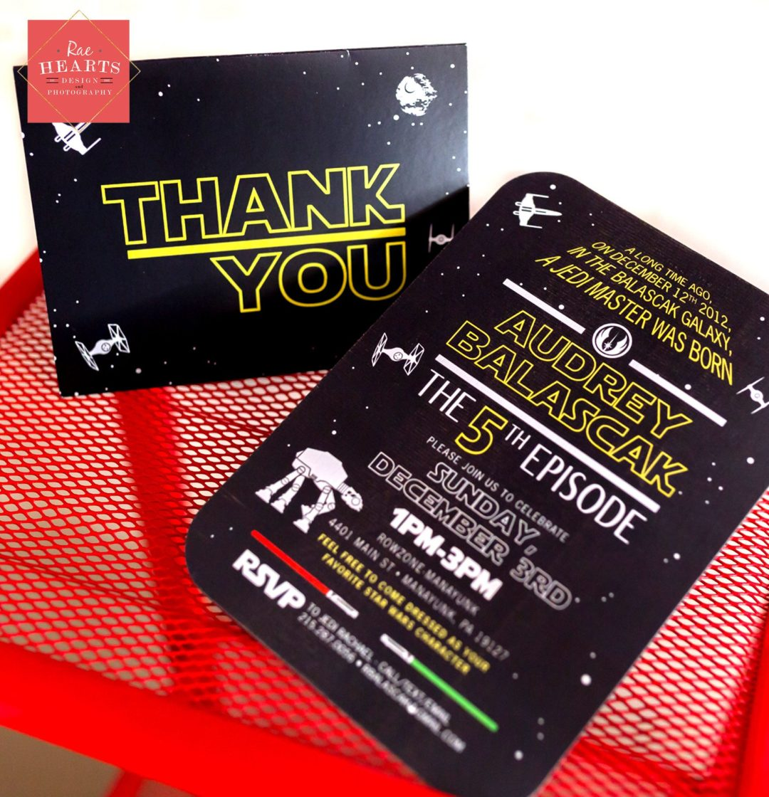 Star Wars Birthday Invitation And Thank You Card Www